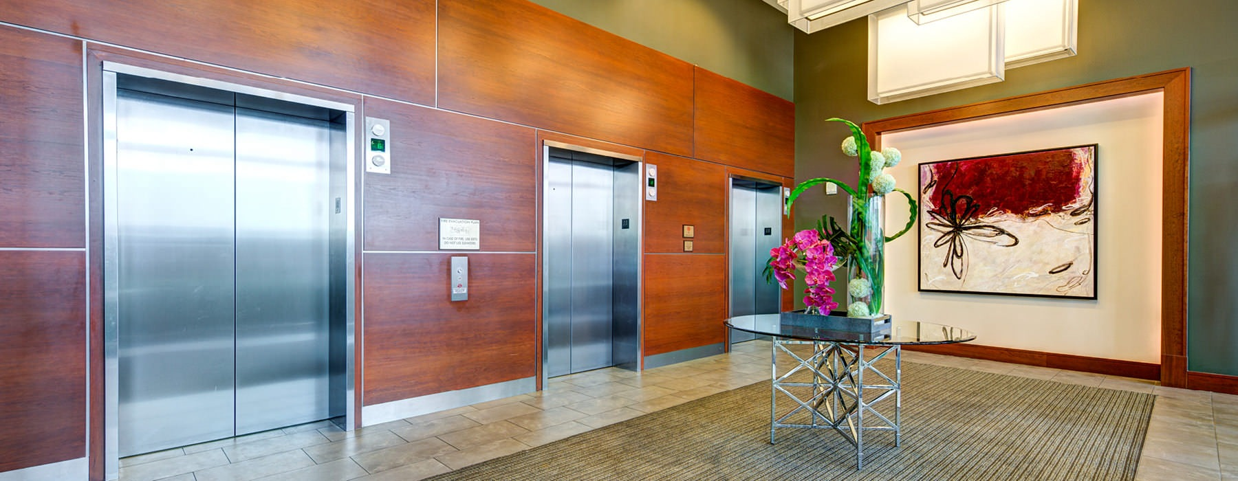 elevators in bright, spacious lobby
